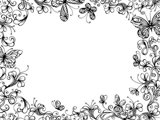 Hand-drawn floral background.