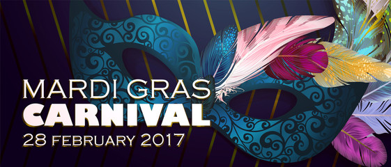 Realistic carnival mask wather for Mardi Gras invitation flyers, web banner, separated editable elements under mask. Vector illustration,colorful background. Mardi Gras Carnival 28 february 2017