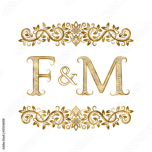 F And M Vintage Initials Logo Symbol The Letters Are Surrounded By Ornamental Elements
