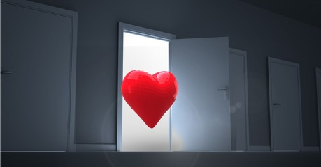 Open door with red heart shape