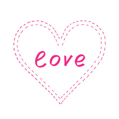 """Abstract pink heart with """"love"""""""