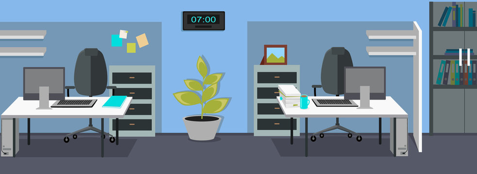 Office Interior Web Banners in Flat Design