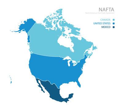 Map of NAFTA (North American Free Trade Agreement)