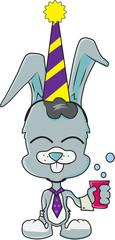 Cute rabbit boy celebrating birthday