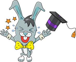 Cute rabbit boy graduated