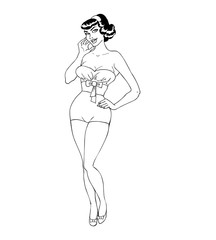 Pretty Retro Pin Up Girl outlines
