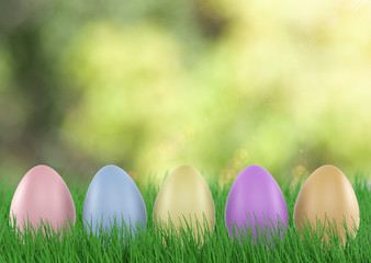Easter eggs in Fresh Green Grass. 3d render
