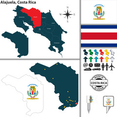 Map of Alajuela, Costa Rica