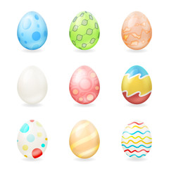 Colorful easter eggs icons isolated vector illustration