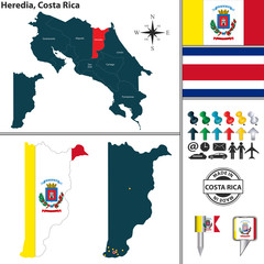 Map of Heredia, Costa Rica