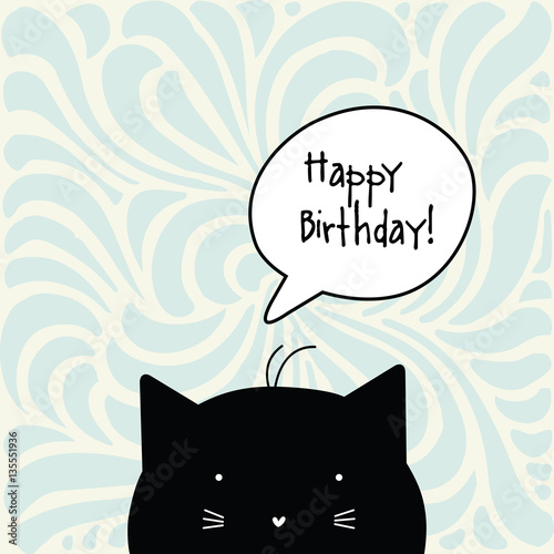 Happy Birthday Card Cat Character Greeting With Copy Space