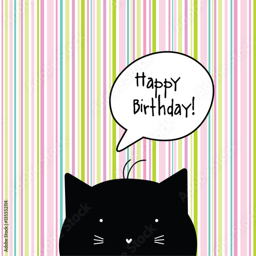 Happy Birthday Card Cat Character Seamless Pattern At The Background Greeting Template