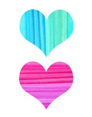 Abstract hearts with watercolor pattern