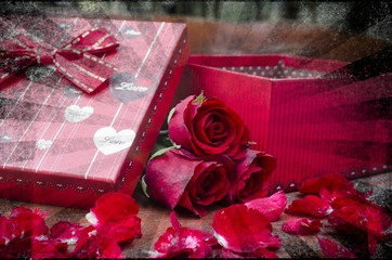 Valentine gift box with rose, vintage filter image