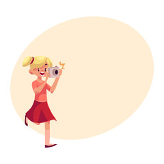 Little blond girl with ponytails running with camera and making photos, cartoon illustration on background with place for text. Full length portrait of little, teenage girl shooting with photo camera