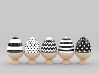 3d rendering of Easter eggs in wooden egg holders