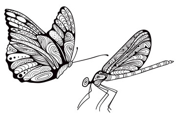 Hand drawn dragonfly and butterfly, zen art design. Isolated on white.