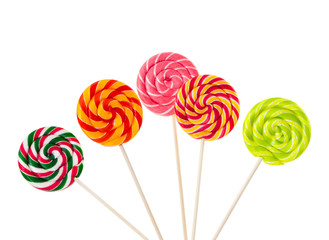 Wall Mural - Colorful lollipops isolated on white background.