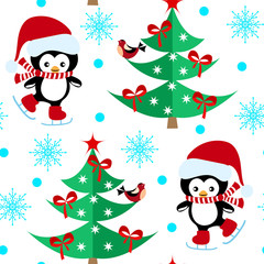 Seamless pattern with Christmas penguins