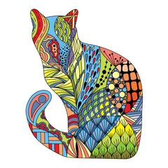 Stylized colorful doodle cat. Hand drawn cartoon animal illustration, coloring book page. Decorative ornate for T-shirt emblem, logo or tattoo. Zen art, isolated design element