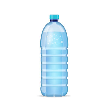 Realistic bottle with clean blue water isolated on the white background. Vector mockup. Front view.