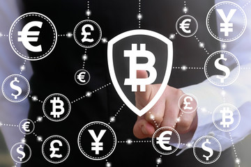 Blockchain insurance web money banking finance business concept. Bitcoin shield icon. Cryptocurrency block chain protection, safety internet network money technology
