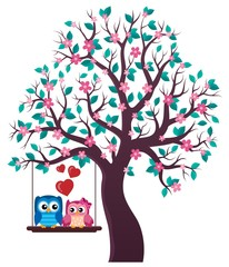Printed roller blinds Birds in cages Tree with Valentine owls theme 1
