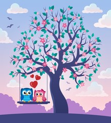 Printed roller blinds Birds in cages Tree with Valentine owls theme 2