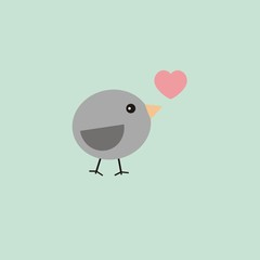 Cute bird with heart on blue background.