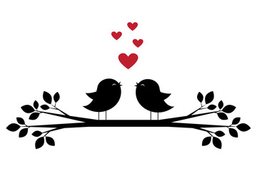 Silhouettes of cute birds sing and red hearts