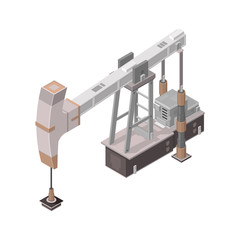 Isometric Oil Derrick Icon.  Vector illustration of an oil pump and production process.