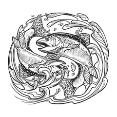 Zodiac sign - Pisces. Two fishes jumping from the water. Circle composition, decorative swirls of water. Vintage art nouveau style concept art for horoscope, tattoo or colouring book. EPS10 vector