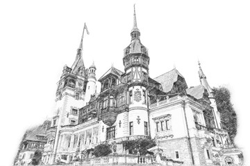 Sketch Of Peles Castle In Carpathian Mountains