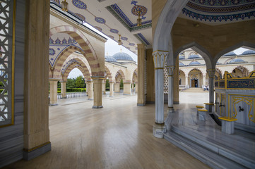 """Mosque """"Heart of Chechnya"""" (Akhmad Kadyrov Mosque) interior view in Grozny, the capital of Chechnya, Russia"""