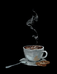 Sketch of cup of hot coffee with spoon and cookies painted by chalk against chalkboard. Symbol of cafe and restaurant. Breakfast.