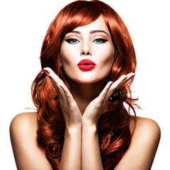 Beautiful sensual woman sends air kiss. Love. Romantic.