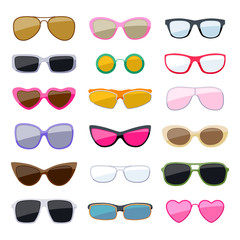 Set of colorful sunglasses icons.