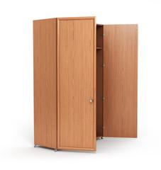 Empty open wooden wardrobe isolated on the whitebackground. 3d i