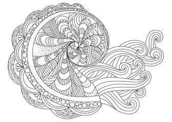 Stylized tropical mollusk isolated on white background. Freehand sketch for adult anti stress coloring book page with doodle and zentangle elements.