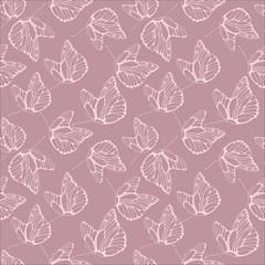 Elegant vector butterflies pattern. Abstract seamless background.