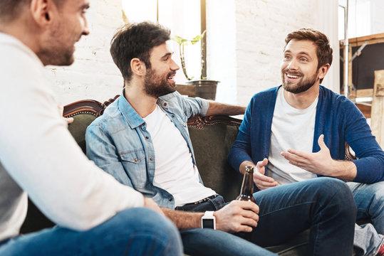 Nice joyful men chatting with each other
