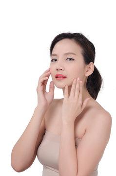 Portrait of Beautiful Asian women on white background