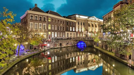 Fototapete - Canal in the historic center of Utrecht in the evening, Netherlands   (static image with animated sky and water)