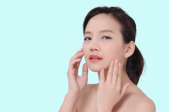 Portrait of Beautiful Asian women on pastel background