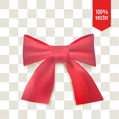 Realistic red bow. Ribbon can be use for decoration gifts, greetings, holidays.