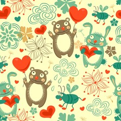 Childrens background seamless pattern with animals a hare, a bear, beetle, heart