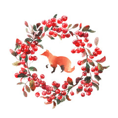Watercolor wreath of rowan and fox isolated on white. Background for invitation.