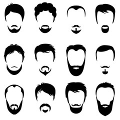 Design constructor with men vector silhouette shapes of haircuts