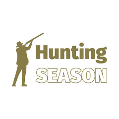 Hunting season logo template with hunting man, isolated on white. Vector illustration