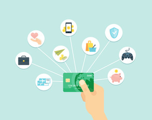 Payment concept in flat style. Blue credit card and icons - vector illustration.